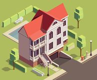 Suburban Residential Building Composition royalty free illustration