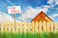 Suburban residential realty for sale. With tablet Royalty Free Stock Image