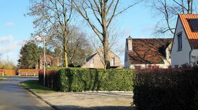 Suburban residential street with houses in Belgium. A tree-lined modern residential street on a cul-de-sac in a typical upscale neighborhood in Belgium with Royalty Free Stock Photography