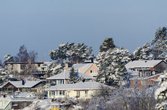 Suburban residentual quarters with villas wintertime Royalty Free Stock Image