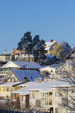 Suburban residentual quarters wintertime in Stockholm Royalty Free Stock Image