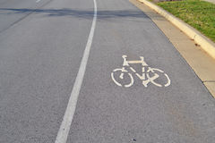 Suburban Roadway Bike Lane Royalty Free Stock Photography