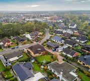 Suburban settlement in Germany with terraced houses, home for ma Royalty Free Stock Image