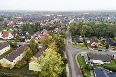 Suburban settlement in Germany with terraced houses, home for ma Stock Images