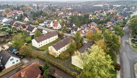 Suburban settlement in Germany with terraced houses, home for ma royalty free stock photography