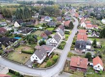 Suburban settlement in Germany with terraced houses, home for ma Stock Photos
