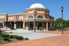 A suburban shopping center. And restaurant architecture fragment stock images