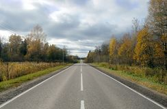 Suburban shosse with road markings on autumn day. Golden autumn. Empty suburban road with new road markings under cloudy autumn day Stock Image