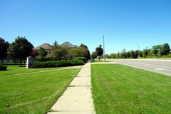 Suburban sidewalk Royalty Free Stock Photo