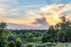 Suburban skyline at sunset stock photo