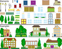 Suburban small houses. The file contains elements for drawing of suburban small houses and ready examples Royalty Free Stock Photography
