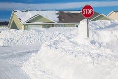 Suburban Snowfall Stock Photo