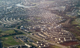 Suburban sprawl. Aerial view of suburban sprawl between Frederick, Maryland and Washington DC royalty free stock images