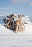 Suburban Stones on the river Chusovaya in the winter Stock Photography