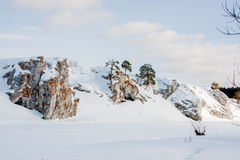 Suburban Stones on the river Chusovaya in the winter Royalty Free Stock Image