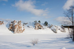 Suburban Stones on the river Chusovaya in the winter Stock Images