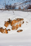 Suburban Stones on the river Chusovaya in the winter Royalty Free Stock Photography