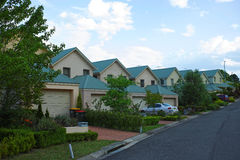 Suburban Street with Houses in the Blue Mountains Australia Stock Photography