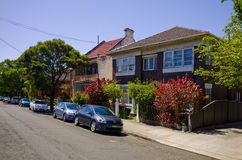 Suburban Street with Houses in Sydney Australia Royalty Free Stock Photos