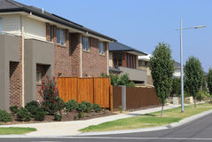 Suburban Street with modern houses. Stylish and contemporary homes Melbourne Australia Royalty Free Stock Images