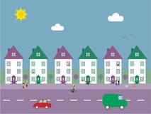 Suburban Street Vector Illustration. Colorful illustration of a suburban street with people, pets and traffic vector illustration