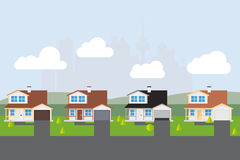 Suburban Street Vector Illustration Stock Photography