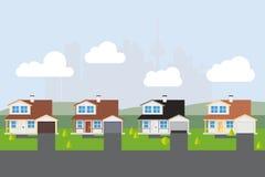 Suburban Street Vector Illustration Stock Photography