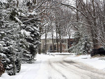 Suburban street in winter Stock Photography