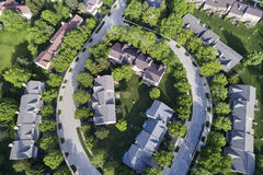 Suburban Townhouse Neighborhood Aerial Stock Image