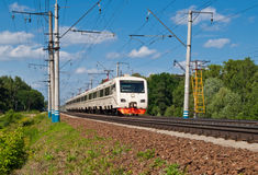 Suburban Train. Suburban public electric passenger train. Russia, Moscow Royalty Free Stock Images