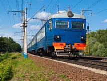 Suburban Train. Suburban public electric passenger train. Russia, Moscow Royalty Free Stock Image
