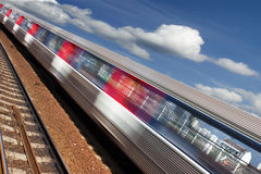 Suburban train 2. Motion blurred image of a train passing by Stock Image
