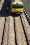 Suburban train. Oncoming suburban train on railway tracks Stock Photography