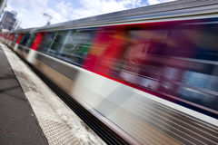 Suburban train. Motion blurred image of a train passing by Stock Photo
