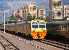Suburban Train. Suburban electric train at railway station Moscow Russia Royalty Free Stock Images