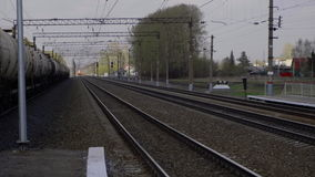 Suburban train arriving stock video footage