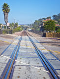 Suburban Train Tracks. Colorful metal train tracks run through the ocean side community of Del Mar in southern California, north county San Diego, with a palm stock photo