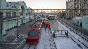 Suburban trains at the Belorussky railway station in Moscow. Rus Royalty Free Stock Photos
