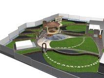 Suburban yard landscaping, 3d render Royalty Free Stock Image