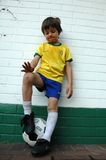 Suburban Zidane. A young boy awaits his day on the soccer field. World Cup 2010 Stock Image