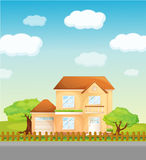 Suburbia. Illustration of a suburban house Stock Photography