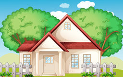 Suburbia. Illustration of a suburban house Stock Photo