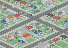Suburbia. An isometric, bird's eye view of a cute, peaceful neighbourhood Stock Images