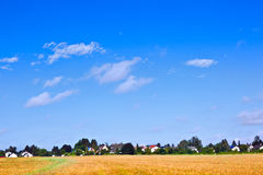 Suburbian housing area in rural landscape Stock Images