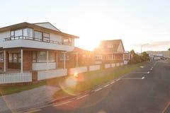 Suburbian solnedgång Arkivbild