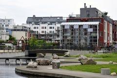 Suburbio moderno en Suecia Fotografía de archivo libre de regalías
