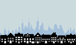 Suburbios y ciudad urbana Imágenes de archivo libres de regalías