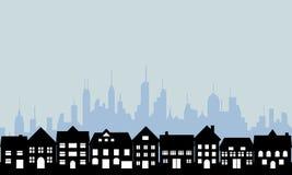 Suburbios y ciudad urbana Fotografía de archivo