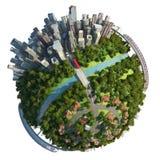 Suburbios y concepto del globo de la ciudad stock de ilustración