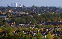 The Suburbs. View of the suburbs of North London from Alexandra Palace with Canary Wharf in the background Royalty Free Stock Photography